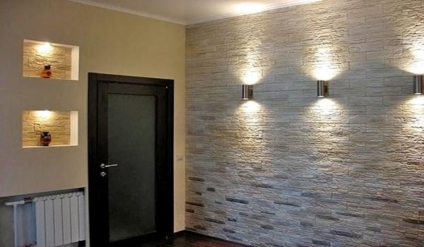 Декоративная отделка стены «кварцевый камень»